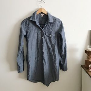 J Crew chambray half button down blouse